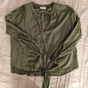Universal Thread Knot-Front Checkered Blouse